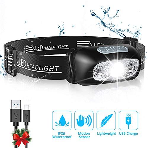 Cocoda Stirnlampe mit 4 Helligkeiten, Ultrahelle Wiederaufladbare LED Kopflampe, 160 Lumen, Wasserdichtes IPX6, Gestensensor, Einstellbarer Stirnlampe USB fürs Laufen, Joggen, Angeln, Camping, Jagd