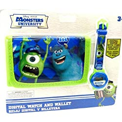 Box shows + wallet 'Monsters University' blue green.