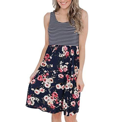 e Streifen und Farbdrucke Weste Kleid mit Tasche, Frauen Lässiges Kleid Sommer Strandrock Abendkleid Partykleid Bequemes Loses Kleid ()
