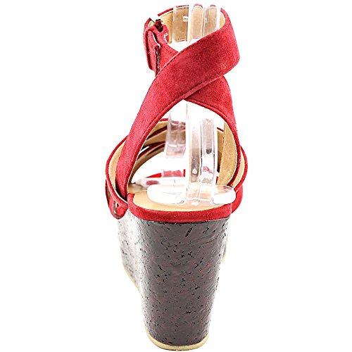 Nina Vision Femmes Daim Sandales Compensés Imperial Red