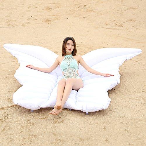 Juguetes gigantes de natación - Balsa inflable del flotador de la piscina de la mariposa - Juguete inflable grande del flotador de la piscina al aire libre para los adultos y los niños (Blanco)