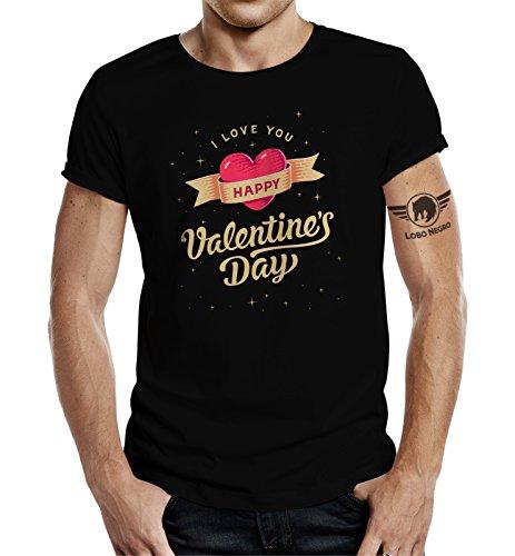 LOBO NEGRO® Original Design T-Shirtzum Valentinstag: I Love You-S
