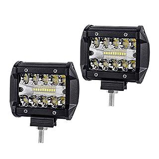 HruiZ 2x 4 Inches 60W Work Lamp Led 12000LM Headlight Work Light LED Waterproof IP67 Fog Lights Beam Combo Spot and Flood (4 Inches 60W)