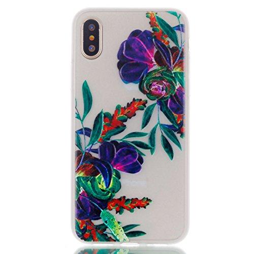 iPhone 8 Custodia, Copertura per iPhone 8, Case Cover protettiva antiurto per silicone per iPhone 8 , Soft TPU Bumper-Clear (Luce di notte-TPU) - trama Set 4