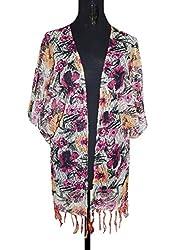 URBAN TRENDZ 2361 Printed Kimono Topper with fringes