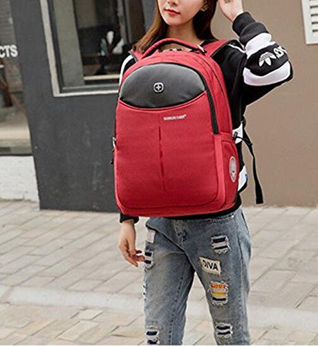 HTRPF Schultertasche Middle School Student Bag Business Travel Rucksack Red