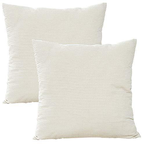 JOTOM weiche einfarbige Cord Kissenbezug, Corn Kernels Kissenbezüge für Heim Sofa dekorative 45x45cm, 2er Set (Weiß)