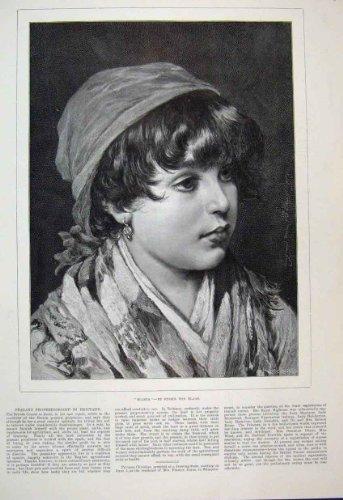 Kleines Mädchen-Porträt-Viktorianische Schöne Kunst 1889 Bianca -