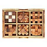 IQ MASTER – 6er Knobelspiele Set in edler Holz Schachtel – Standard - Sechs Geschicklichkeitsspiele als Geschenk-Idee für Männer Frauen Kinder – 6-teiliges Holzspielzeug Set für Rätselfans