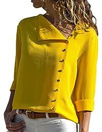 7aa0b0781e60 Aswinfon Chemise Femme Manche Longue Casual Blouse Fluide Chic Classique  Top Haut Tunique