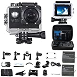 WiFi Actioncam Action Kamera '30M HD 1080P' mit 2 Akkus, kostenloses Zubehör für Outdooraktivitäten wie z.B. fahradfahren, skilaufen, motofahren und für Wassersportarten