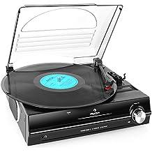 auna TBA-928 • Schallplattenspieler • Plattenspieler mit Lautsprecher • Riemenantrieb • Start-Stopp-Automatik • 2 Geschwindigkeiten • 33/45 U/min. • Nadel enthalten • 3,5mm-Klinke Kopfhörerausgang • Stereo Cinch-Line-Out • Staubschutzhaube • schwarz