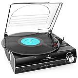 auna TBA-928 • Schallplattenspieler • Plattenspieler mit Lautsprecher • Riemenantrieb • 2 Geschwindigkeiten • 33/45 U/Min • Nadel enthalten • 3,5mm-Klinken-Ausgang • Stereo Cinch-Line-Out • schwarz