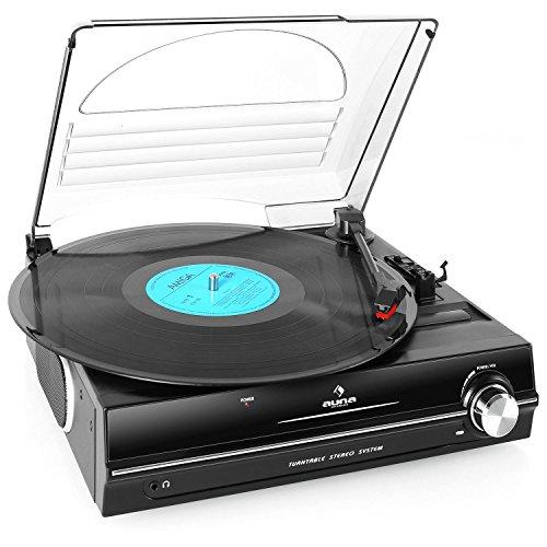 auna TBA-928 - Schallplattenspieler, Plattenspieler mit Lautsprecher, Riemenantrieb, 2 Geschwindigkeiten, 33, 45 U Min, Nadel enthalten, 3,5mm-Klinken-Ausgang, Stereo Cinch-Line-Out, schwarz