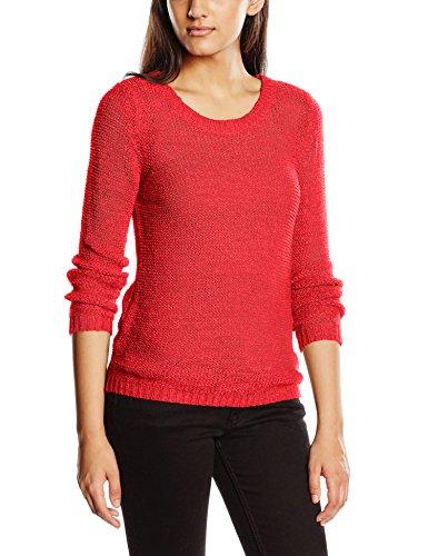 ONLY Damen Onlgeena XO L/S Pullover Knt Noos, Rot (High Risk Red), 38 (Herstellergröße: M) - Strickmuster Damen-pullover