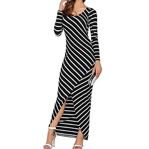 Frauen Kleid Striped Langarm Kleid Hüfte Sexy Unregelmäßige Gabel Kleid Lange Maxikleid