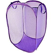 Cesta de ropa sucia - TOOGOO(R)Cesta Bolsa de lavanderia Cesta despedida Caja de almacenamiento de ropa plegable Purpura
