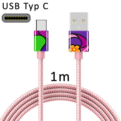 TheSmartGuard USB C Kabel USB-Typ-C Ladekabel Nylon Datenkabel mit USB-Type-C Anschluss kompatibel für Samsung S10/S9/S8, Huawei P30/P20, UVM | 1 Meter/1m Rose-Gold | Girl Pop Art Frau Bunt Lila -