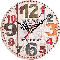 FEITONG Estilo Vintage reloj de pared silencioso de madera antiguo (C)