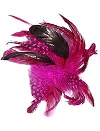 Fuchsia Assorted Feather Mix Beak Clip Brooch Corsage Fascinator