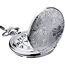Mudder Silver Quartz Pocket Watch Stainless Steel Pocket Watch with Chain