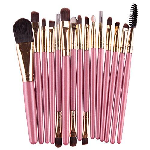 Sanwood 15 x Ensemble de maquillage Poudre Fond de Teint Fard à paupières sourcil Concealer lèvre Brosse Cosmétique
