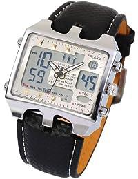 OHSEN OHS034 - Reloj para hombres, correa de cuero color negro