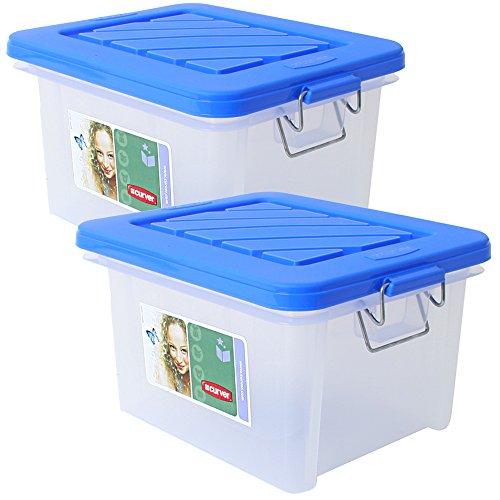 teprovo 2 Stück Curver Box Aufbewahrungsbox Behälter mit Deckel und Bügelverschluß