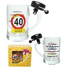 Udo Schmidt–Jarra de cerveza con timbre para 40cumpleaños–0,4l