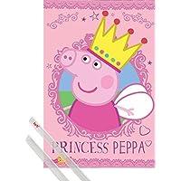 1art1® Póster + Soporte: Peppa Pig Póster (91x61 cm) Princesa Peppa Y 1 Lote de 2 Varillas Transparentes