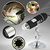 GVESS USB Portatile 1000X Ingrandimento 8-LED Microscopio Digitale Endoscopio con Supporto per l'istruzione di Controllo Biologico con Cavo di OTG per il Telefono Android