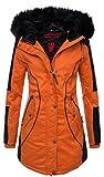 Marikoo Designer Damen Winter Parka warme Winterjacke Mantel Jacke B372 [B372-Larissa-Orange-Gr.S]