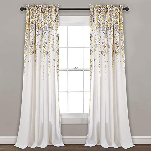 Lush Decor 16t000558Weeping Blumen Verdunkeln Fenster Vorhang Panel-Set, 213,4x 132,1cm, gelb/grau (Grau Gelb-vorhang-panels Und)