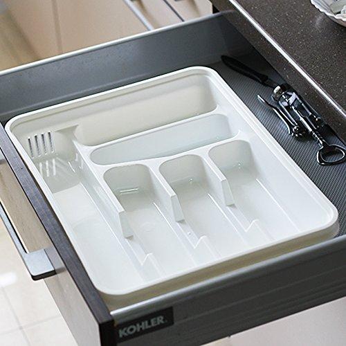 Organisateur/diviseurs tiroir extensible pour couverts, Blanc Double Deck tiroir de Cuisine Vaisselle séparée, des outils de tri