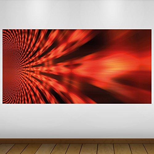 LagunaProject Extra Grand des Ondes de lumière Rouge Vinyle Abstrait Sticker Autocollant Affiche Poster -140cm x 70cm