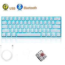 Mechanisch toetsenbord RK61 Bedraad/draadloos Bluetooth-toetsenbord 61 toetsen LED-achtergrondverlichting USB Waterdicht gamingtoetsenbord Anti-ghosting-toetsen (witte/bruine schakelaar)