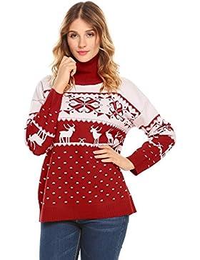 [Patrocinado]Zeela Mujer Suéter De Punto Nieve Reno Navidad Punto Jerséy Pullover Cuello Alto