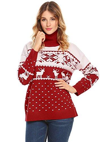 Acevog Suéter Navidad Mujer Cuello Alto Jersey Pullover Mujer Navidad Invierno