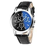 Yuan Men's Chronograph Quartz Wrist Watches with Blue Ray Glass Analog Watches