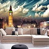 Mural Papel tapiz de Londres Big Ben City Vista nocturna Decoraciones para la pared Sala de estar Dormitorio Mural Papel Pintado 3D Tela de seda (W)200x(H)140cm