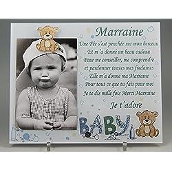 Cadre Photo - modèle Bleu pour Marraine - (Cadeaux originaux pour Parrain Marraine - Baptême, Anniversaire, Noël.)