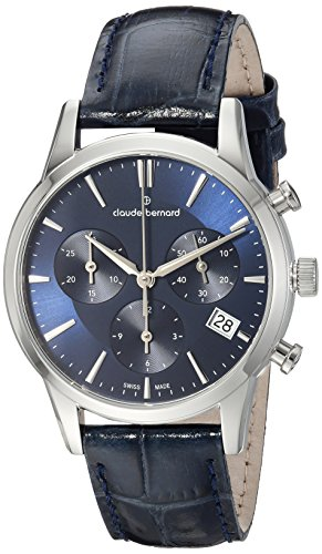 Claude Bernard Men's Quartz Watch with Black Dial Analogue Display Quartz One Size Blue Blue