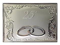 Idea Regalo - Targa anniversario | Argento bilamina | 25° e 50° | con Fedi | 2R argenti (Argento)