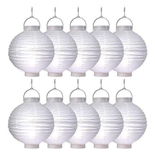 S-O-Lot-de-10-lampions-LED-Blanc-pour-l-039-eclairage-et-la-decoration-Jardin-Bal