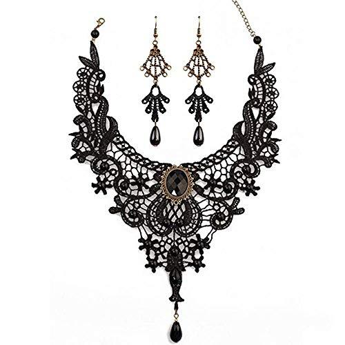 Dcola Black Lace Choker Perlen Kette Anhänger Halskette Ohrring Armband Spitze Gothic Halskette...