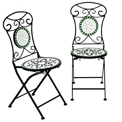 Deuba Mosaikstühle Flora 2er Set I Klappbar I Sitzhöhe 45cm I Metall Stabil Mosaik Balkonstühle Gartenstuhl Klappstuhl