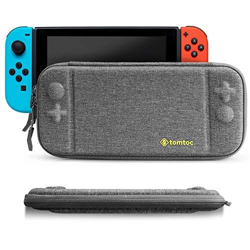 tomtoc Slim Case für Nintendo Switch, Ultra-dünn 4cm dick Hartschale Hülle Aufbewahrungstasche Tragetasche, kompatibile mit Switch Konsolle und 8 Spielkarten, Grau