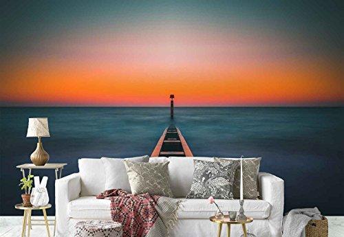 Vlies Fototapete Fotomural - Wandbild - Tapete - Strand Küsten Sonnenuntergang - Thema Strand und Küste - XL - 368cm x 254cm (BxH) - 4 Teilig - Gedrückt auf 130gsm Vlies - FW-1128V8