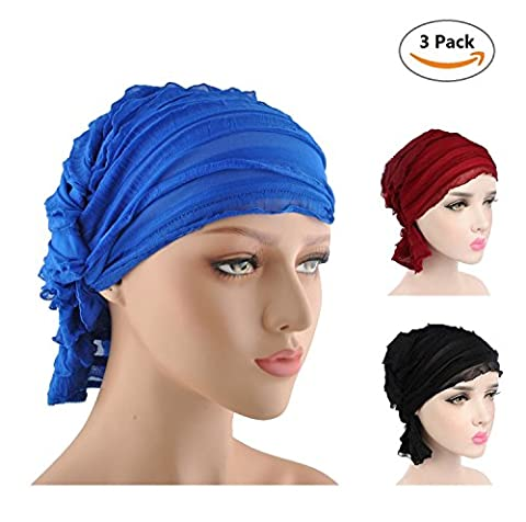 3 couleur emballage maquillage sommeil chemo cancer Head Scarf Hat Ethnique Tissu Imprimer Turban (Violet / bande / Noir A)