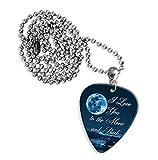 I love you to the moon and back Logo Gitarre Plektrum Kette (GD)